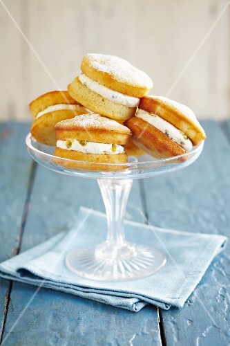 Mini Victoria sponge cakes filled with passion fruit cream