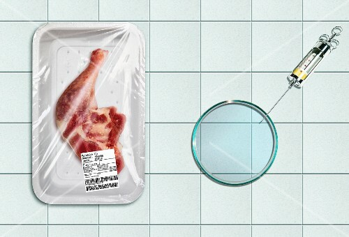 Chicken next to a syringe (food manipulation)