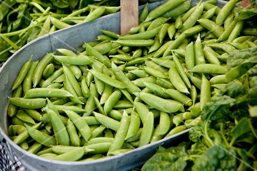 Fresh peas at a farmer's market