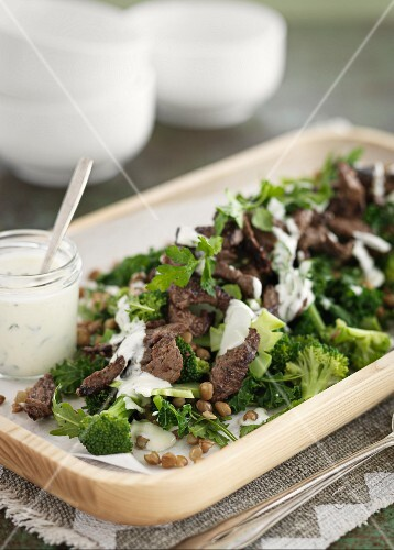 Beef and broccoli salad with capers