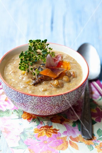 Lentil soup with lemon thyme