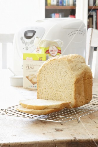 A loaf of bread made in a bread baking machine