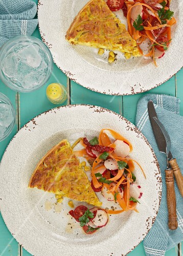 Sweetcorn quiche with carrot salad