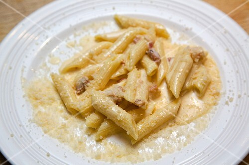 Penne with a creamy bacon sauce and Parmesan cheese