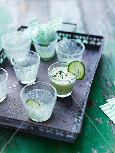 Cucumber drinks in shot glasses