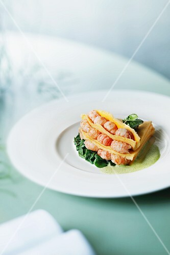 Omelette with crayfish tails and watercress