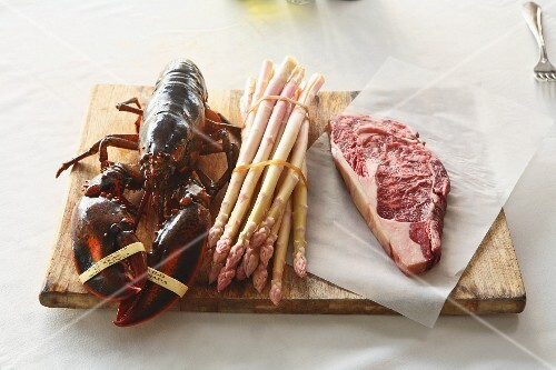 White asparagus, lobster and entrecote steak