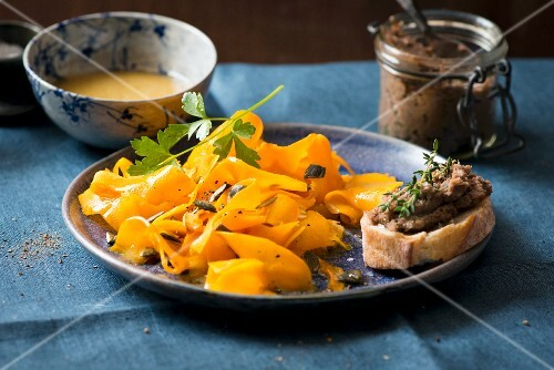 Pumpkin salad and baguette with tapenade