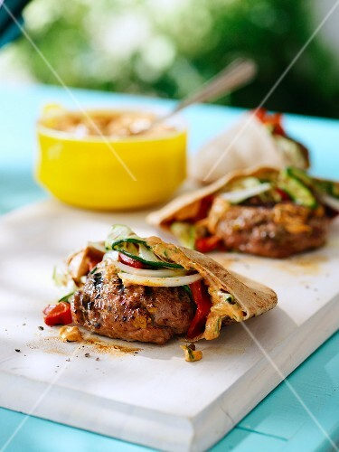 Hamburgers in pita breads for a picnic