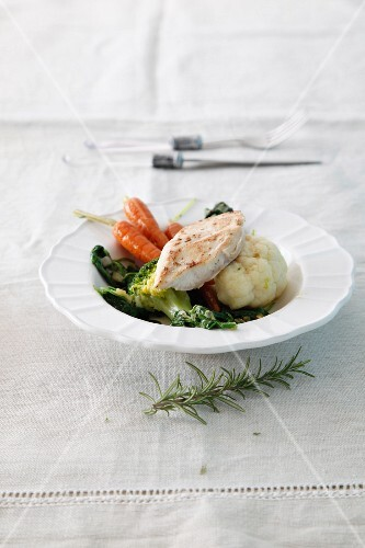 Chicken escalope with vegetables