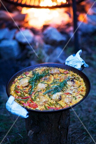 A pan of paella on a tree stump with a fire pit in the background