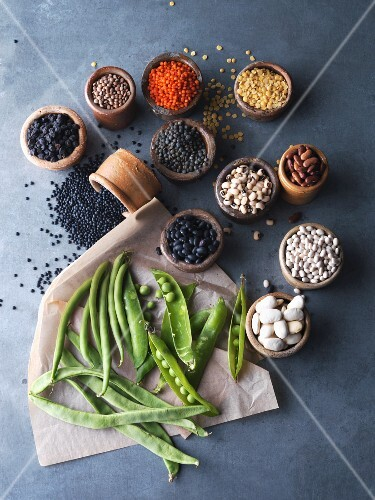 An arrangement of fresh and dries legumes