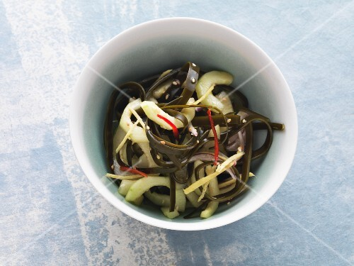 Vegan cucumber salad with wakame, chilli and sesame seeds