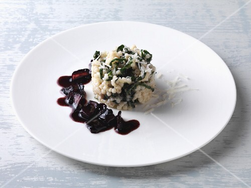 Pearl barley risotto with port wine chard and fresh pecorino cheese