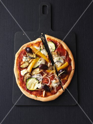 Vegetarian pizza Provençal with goats cheese