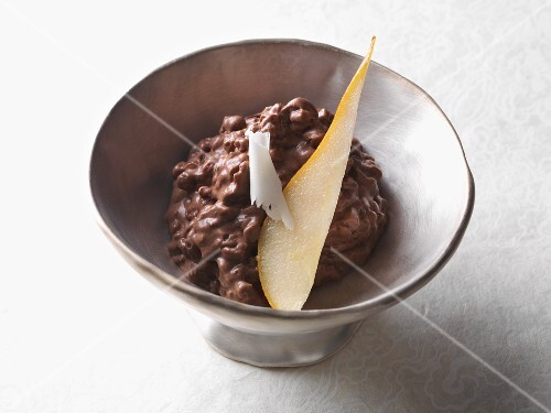 Chocolate rice pudding in a bowl