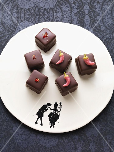 Spicy Dominosteine (chocolate covered sweets with marzipan and gingerbread) with chilli