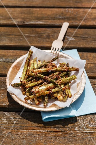 Asparagus fitters (breaded and fried asparagus spears)