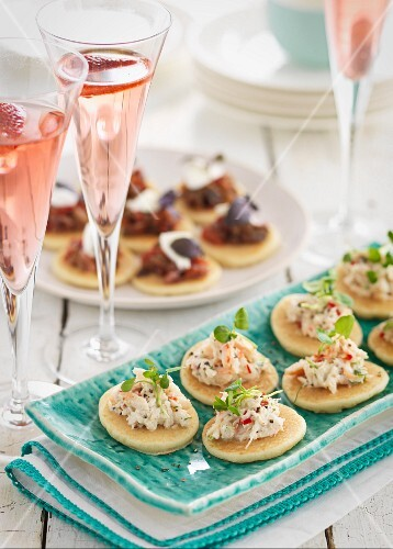 Blinis and strawberry champagne
