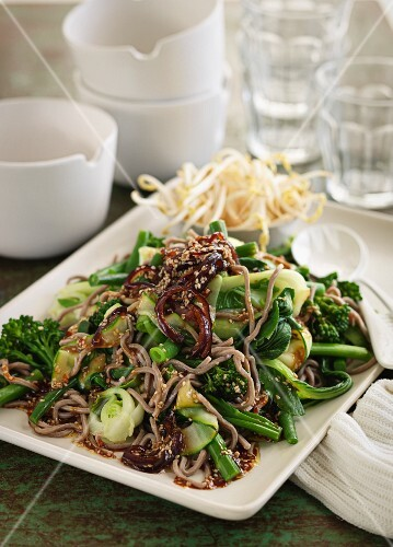 Buckwheat salad with noodles and oriental vegetables