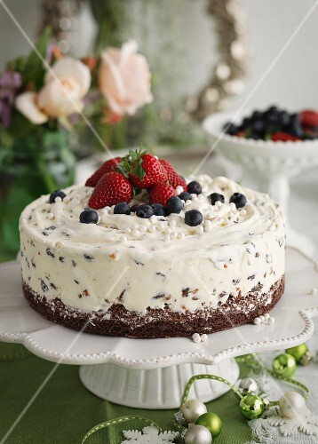 Cassata cake with berries for Christmas