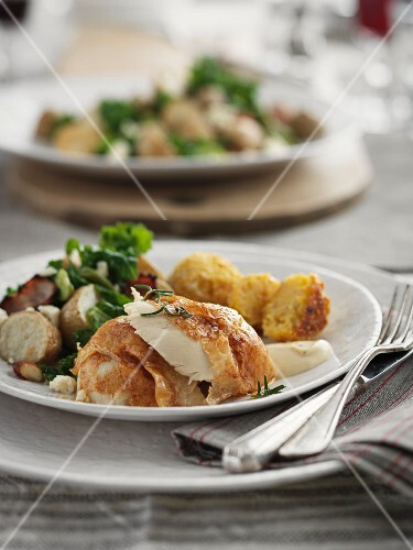 Chicken breast with potatoes and bacon