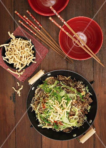 Stir-fried beef with egg noodles