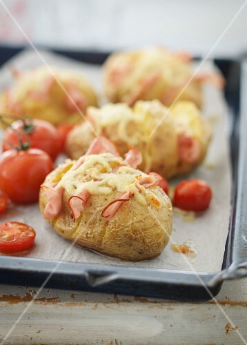 Hasselback potatoes with ham and cheese