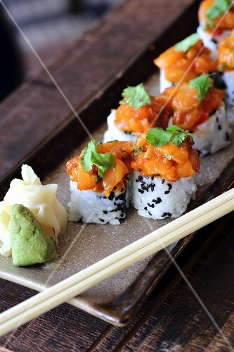 Salmon rolls with ginger and wasabi