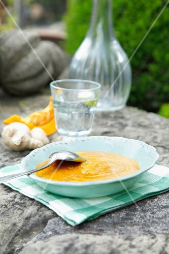 Pumpkin and coconut soup with ginger