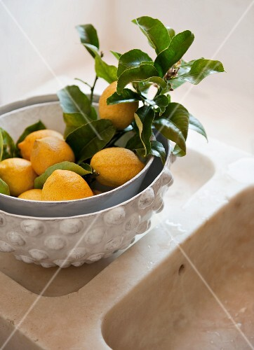 Fresh lemons with leaves in a decorative fruit bowl