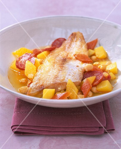 Fish stew with vegetables and chorizo