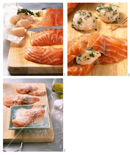 Salmon fillets with scallops being made