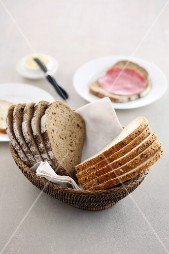 Two types of bread in a basket