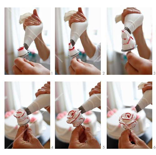 Sugar roses for decorating cakes being made