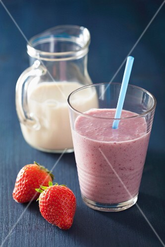 A vegan strawberry smoothie made with soy milk