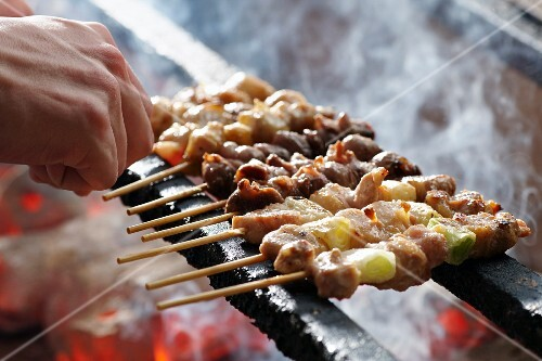 Yakitori skewers on a grill