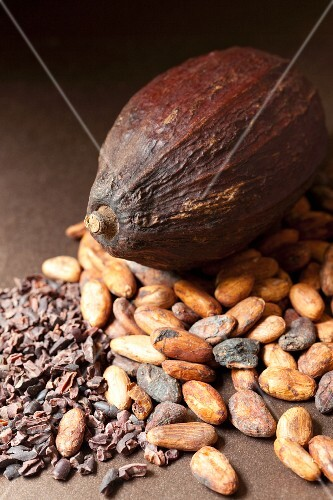A cocoa fruit, whole cocoa beans and crushed cocoa beans