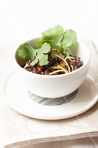 Quinoa salad with coriander leaves and lemon zest