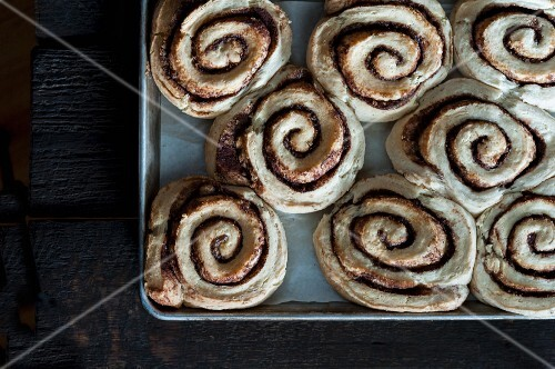 Cinnamon buns on a baking tray
