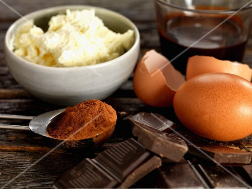 Ingredients for chocolate roulade