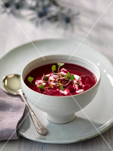 Beetroot soup with chilli and cumin