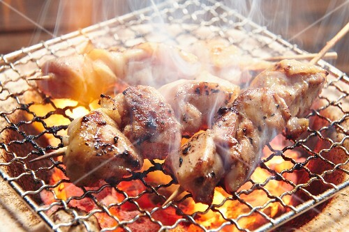 Yakitori skewers on a barbecue (Japan)