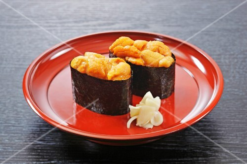 Battleship sushi with sea urchins and eel