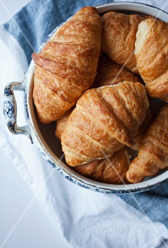 A bowl of croissants