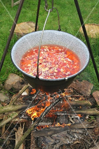 Vegetable soup in a pot over a camp fire