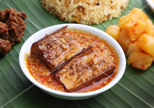 Nyonya cuisine: aubergines in a curry and coconut sauce (Malaysia)