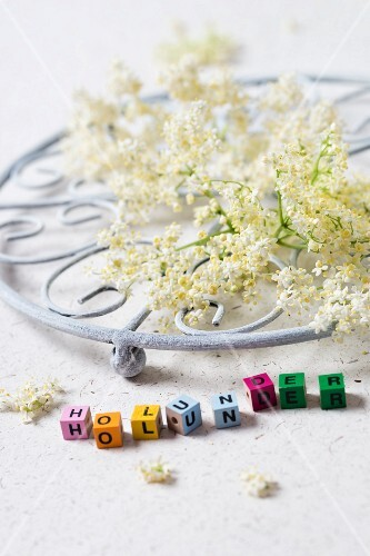 Elderflowers on a pot holder with letter pearls