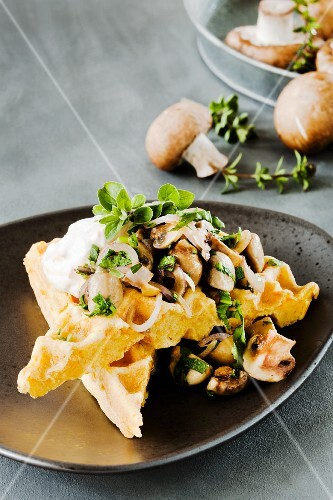 A carrot waffle topped with herb mushrooms