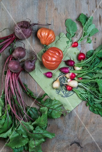 Beetroots, radishes and tomatoes